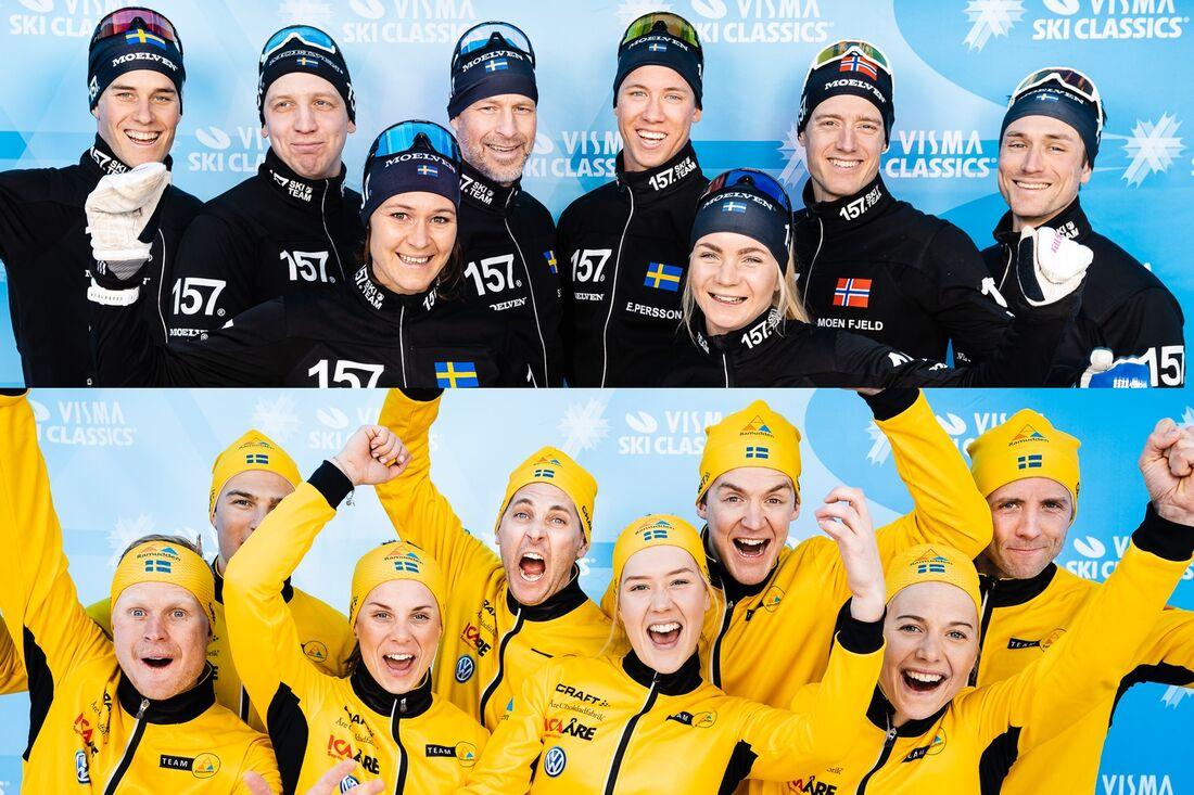 På tisdagskvällen blir det en prestigefylld kamp mellan Lager 157 Ski Team och Team Ramudden när lagen möts i en sprintstafett i Torsby skidtunnel. FOTO: Visma Ski Classics.