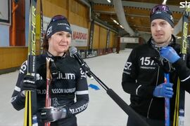 Britta Johansson Norgren och Anton Karlsson intervjuades i Vasaloppet.TV efter segern i sprintstafetten i Torsby skidtunnel på tisdagskvällen. FOTO: Från Vasaloppet.TV:s sändning.
