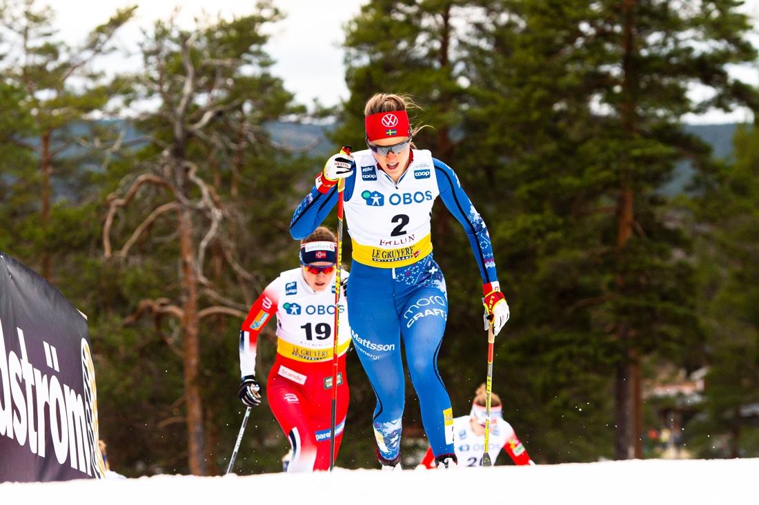 På sprinten i Falun åkte inte Anna för landslaget utan i nationell grupp i IFK Mora-dräkten. FOTO: Simon Hastegård/Bildbyrån.