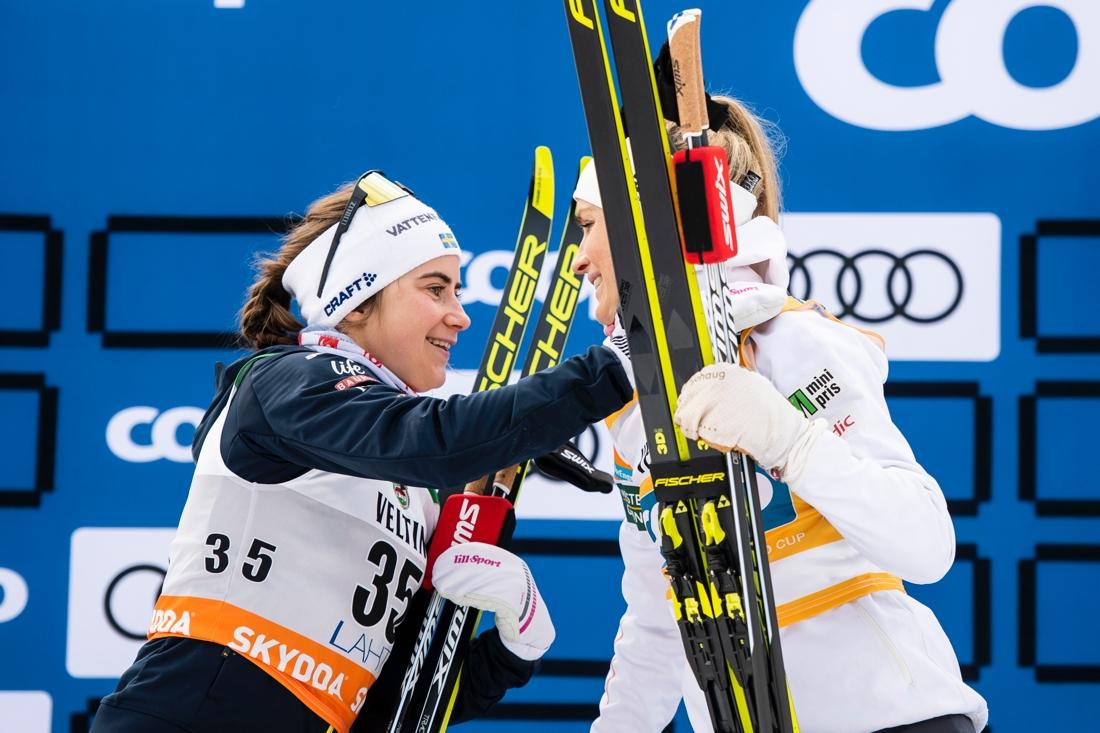 I Lahtis förra säsongen var Ebba bara 3,4 sekunder från att besegra Therse Johaug. Ska första segern komma i vinter? FOTO: Johanna Lundberg/Bildbyrån.