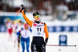 Maja Dahlqvist vann sprinten i suverän stil i Bruksvallarna. FOTO: Johanna Lundberg/Bildbyrån.