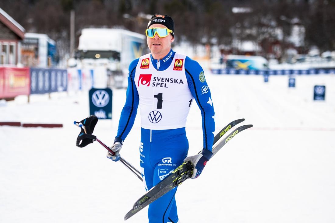 Besviken Grate direkt efter målgång. FOTO: Johanna Lundberg/Bildbyrån.