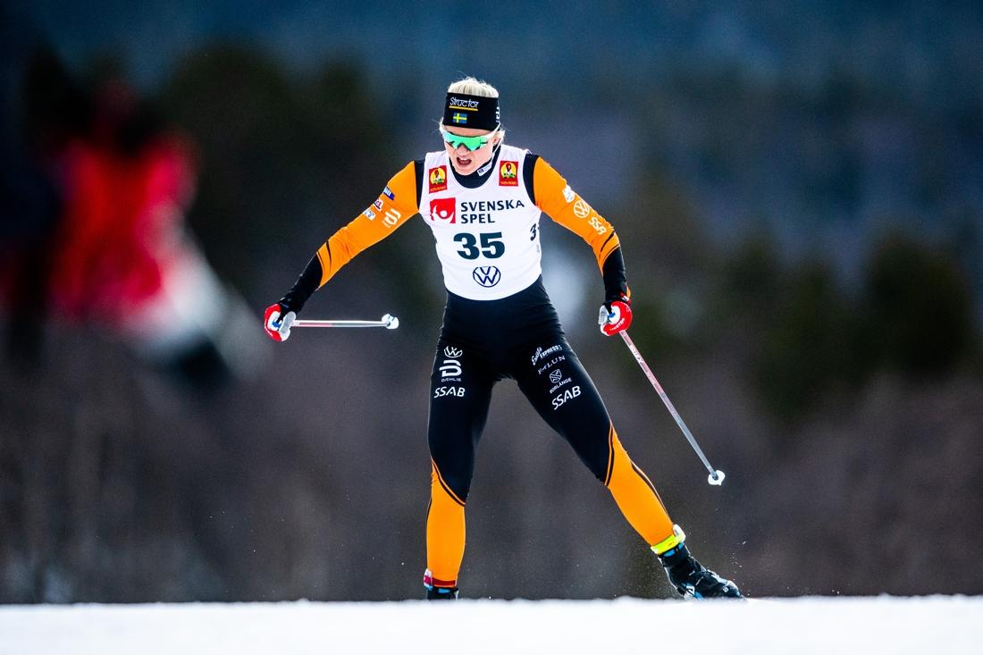 Maja Dahlqvist mot tredjeplatsen. FOTO: Johanna Lundberg/Bildbyrån.
