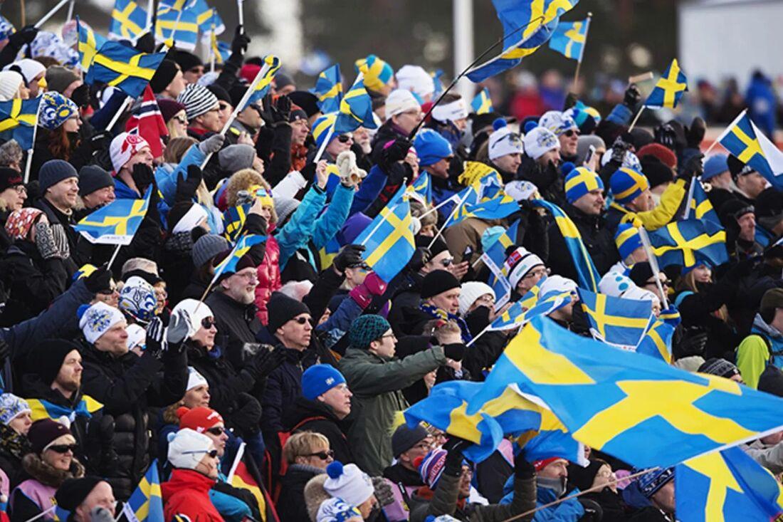 Folkfest i Falun under VM 2015 Nu söker Falun VM i nordiska grenar 2027. FOTO: Bildbyrån.