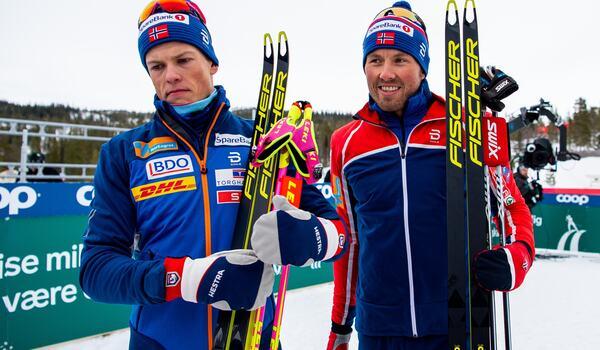 Johannes Hösflot Kläbo och Emil Iversen står över resterade världscuptävlingar under 2020. FOTO: Vegard Wivestad Grött/Bildbyrån.