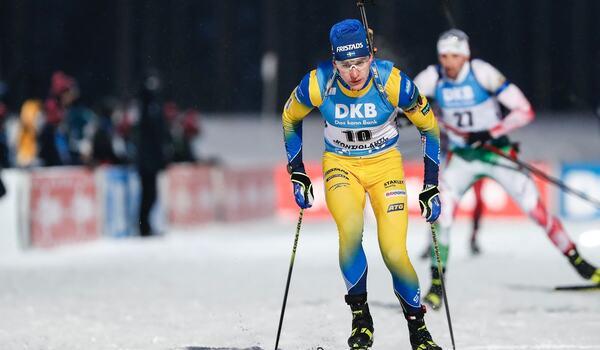 Martin Ponsiluoma åkte fort i Kontiolahti. Trots tre bommar slutade han på nionde plats. FOTO: Kalle Parkkinen/Bildbyrån.