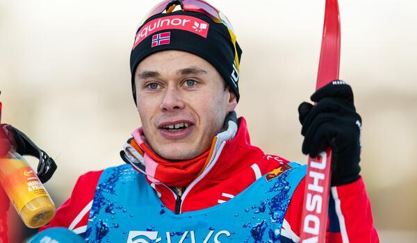 Harald Östberg Amundsen slog Johannes Hösflot Kläbo vid norska cupen i Lillehammer. FOTO: Vegard Wivestad Grött/Bildbyrån.