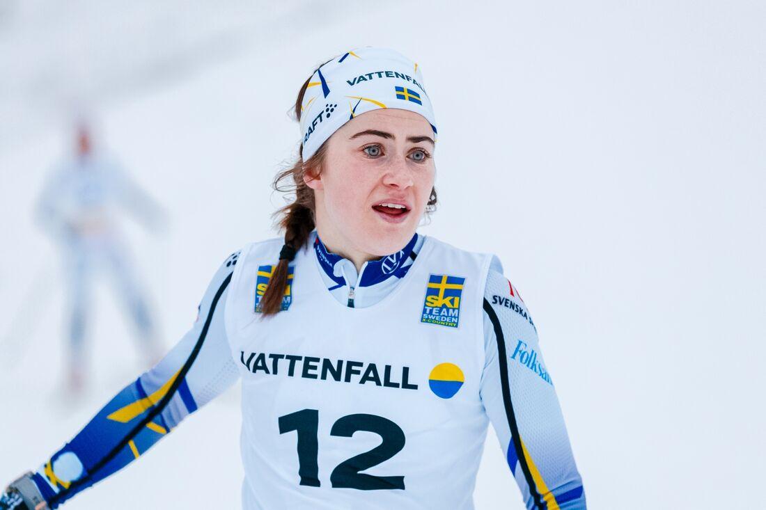 Ebba Andersson var snabbast på längdlandslagets träningstävling i Österund på söndagen. FOTO: Johan Axelsson/Bildbyrån.