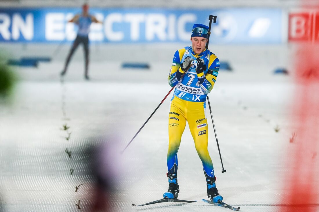 Sebastian Samuelsson, tillsammans med Hanna Öberg, slutade tvåa på singelmixstafett i Oberhof. FOTO: Kalle Parkkinen/Bildbyrån.