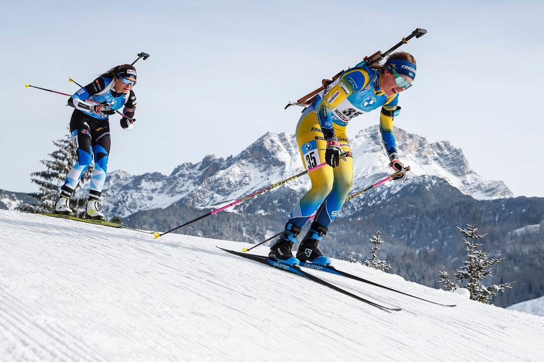 Elvira Öberg förde Sverige till en tredjeplats på skidskyttestafetten i Hochfilzen. FOTO: Jasmin Walter, Gepa Pictures/Bildbyrån.