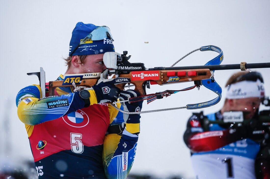 Sebastian Samuelsson förde Sverige till seger vid stafetten i Hochfilzen på söndagen. FOTO: Jasmin Walter, Gepa Pictures/Bildbyrån.