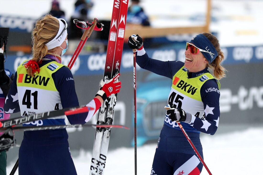 Hailey Swirbul blev trea och Rosie Brennan vann för andra dagen i rad vid världscupen i Davos. FOTO: M. Engelbrecht/Gepa Pictures/Bildbyrån.