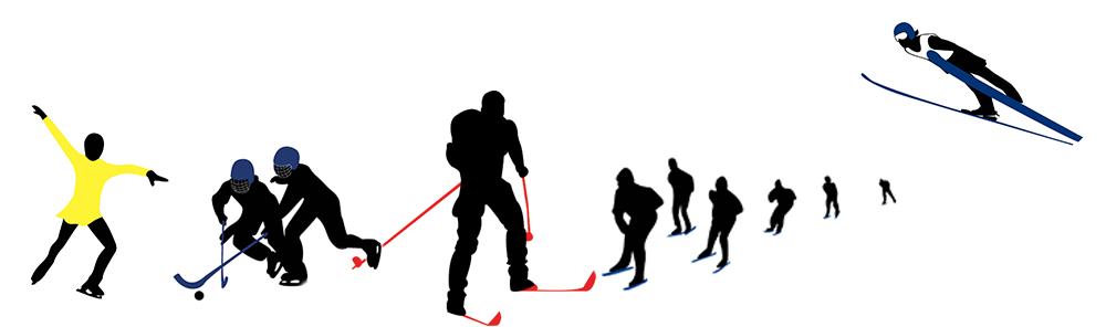 Collage som viser vinteridretter som kunstløp, skøyter, skihopp, hockey og langrenn