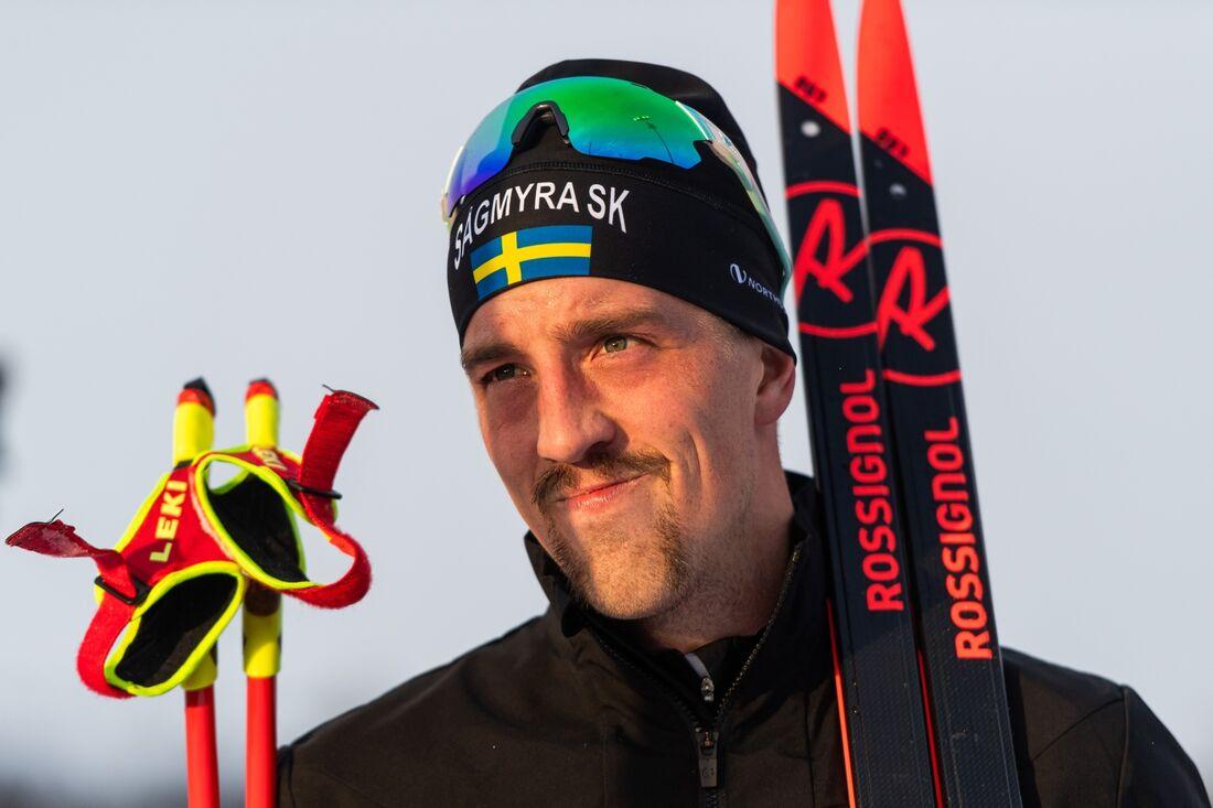 Calle Halfvarsson går ut sist på landslagets interntävling på torsdagen. FOTO: Johanna Lundberg/Bildbyrån.