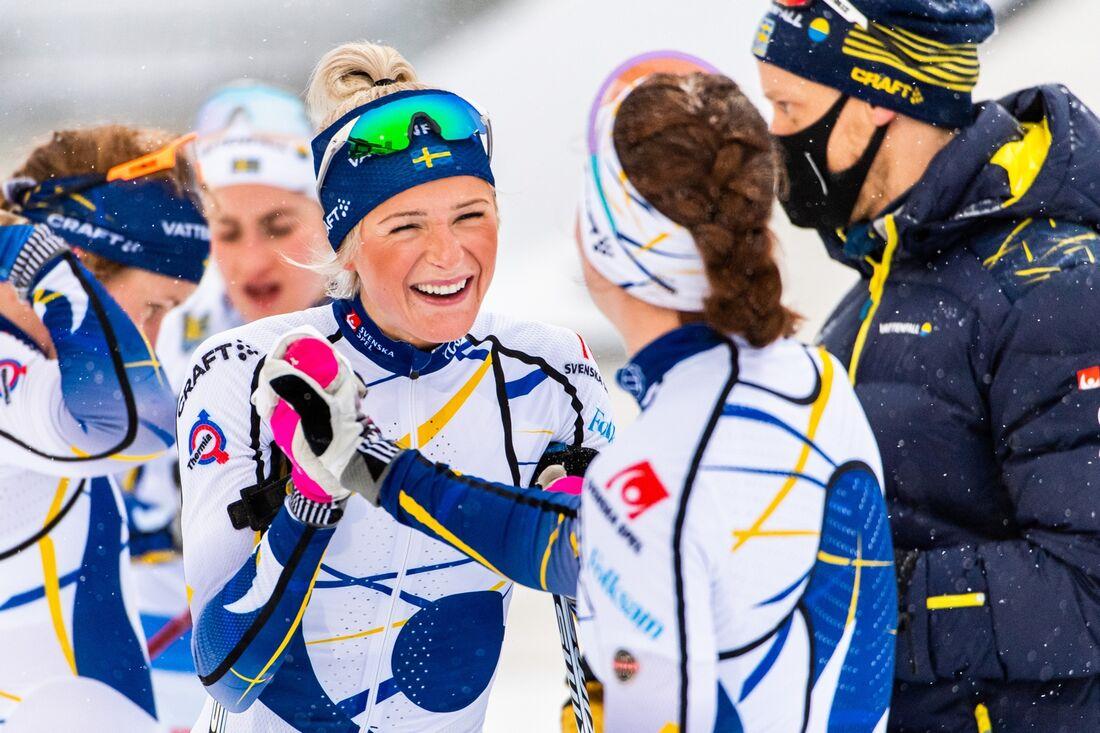 Frida Karlsson är huvudfavorit när landslaget kör ett internt masstartslopp i Östersund på lördagen. FOTO: Erik Mårtensson/Bildbyrån.
