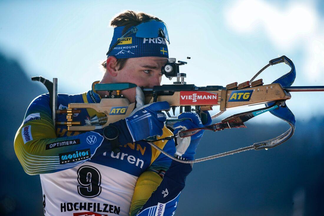 Martin Ponsiluoma blev två på söndagens masstart i Hochfilzen. FOTO: Jasmin Walter, Gepa Pictures/Bildbyrån.