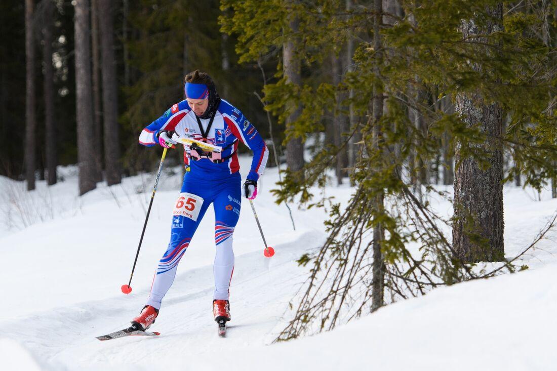 Markus Lundholm, OK Renen, vann jaktstarts-SM i skidorientering efter sekundstrid mot Linus Rapp, IFK Mora. FOTO: Carl Sandin/Bildbyrån.
