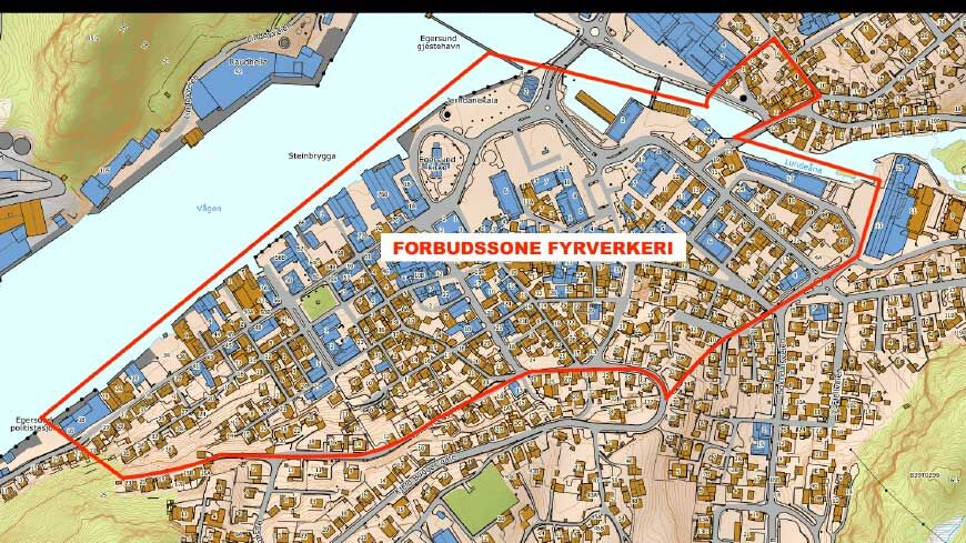 Forbudsone i Egersund sentrum