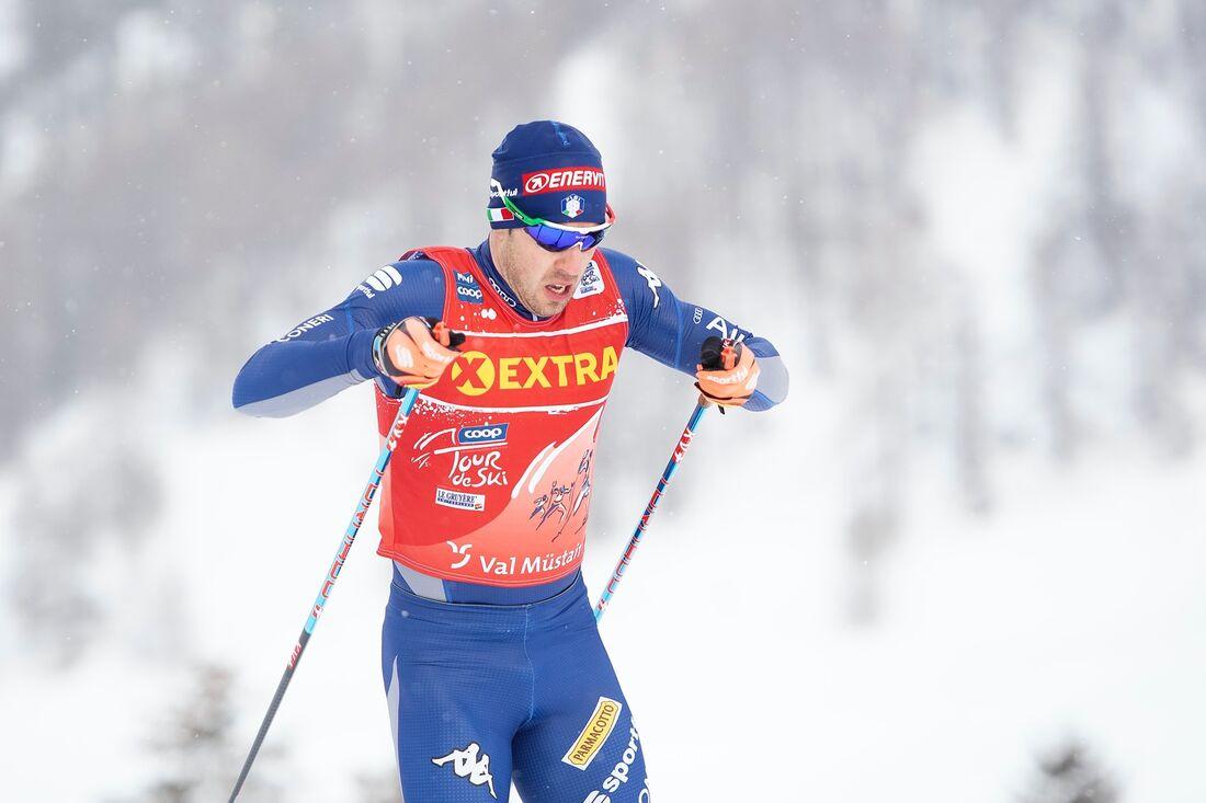 Federico Pellegrino vann Tour de Ski-prologen i Val Müstair på nyårsdagens förmiddag. FOTO: Maxim Thore/Bildbyrån.