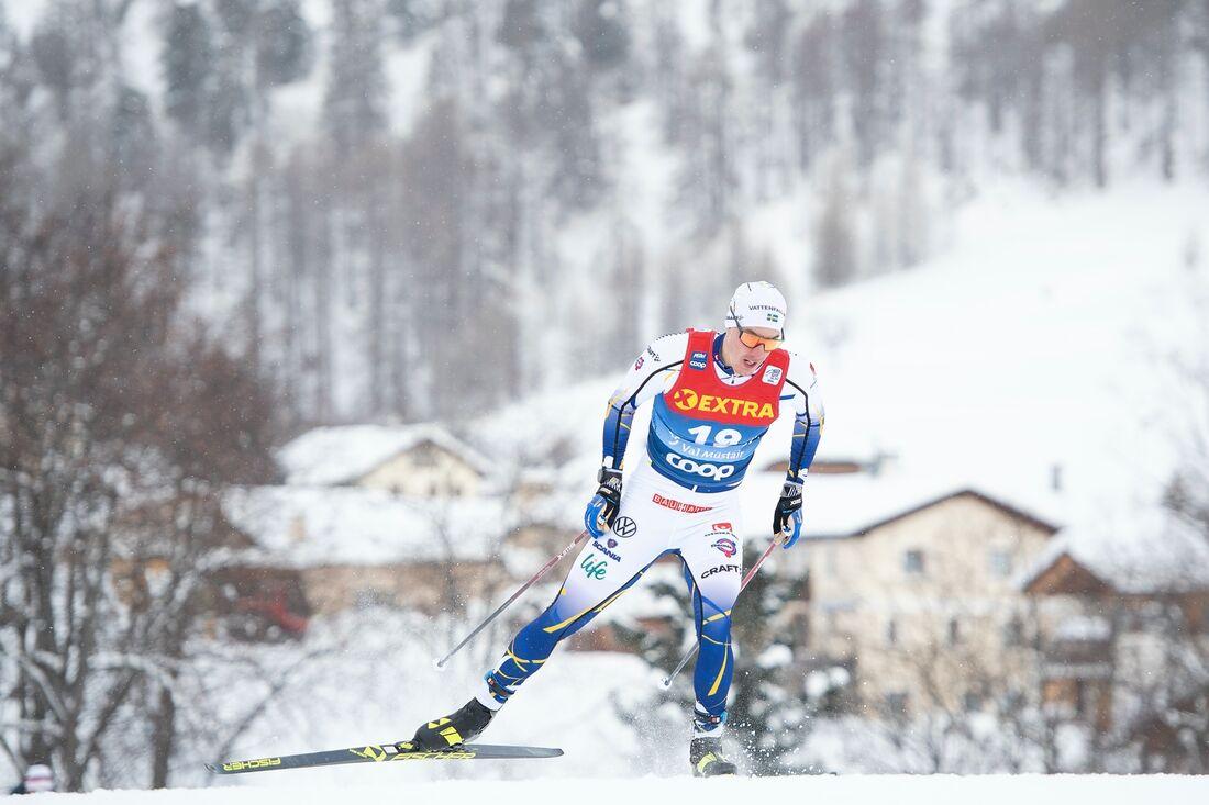 Johan Häggström var snabbast av de svenska herrarna i sprintprologen i Val Müstair. FOTO: Maxim Thore/Bildbyrån.