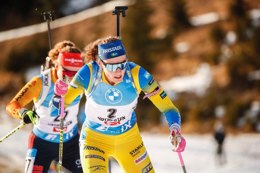 Hanna Öberg slutade tvåa på sprinten I tyska Oberhof på fredagen. FOTO: Jasmin Walter, Gepa Pictures/Bildbyrån.