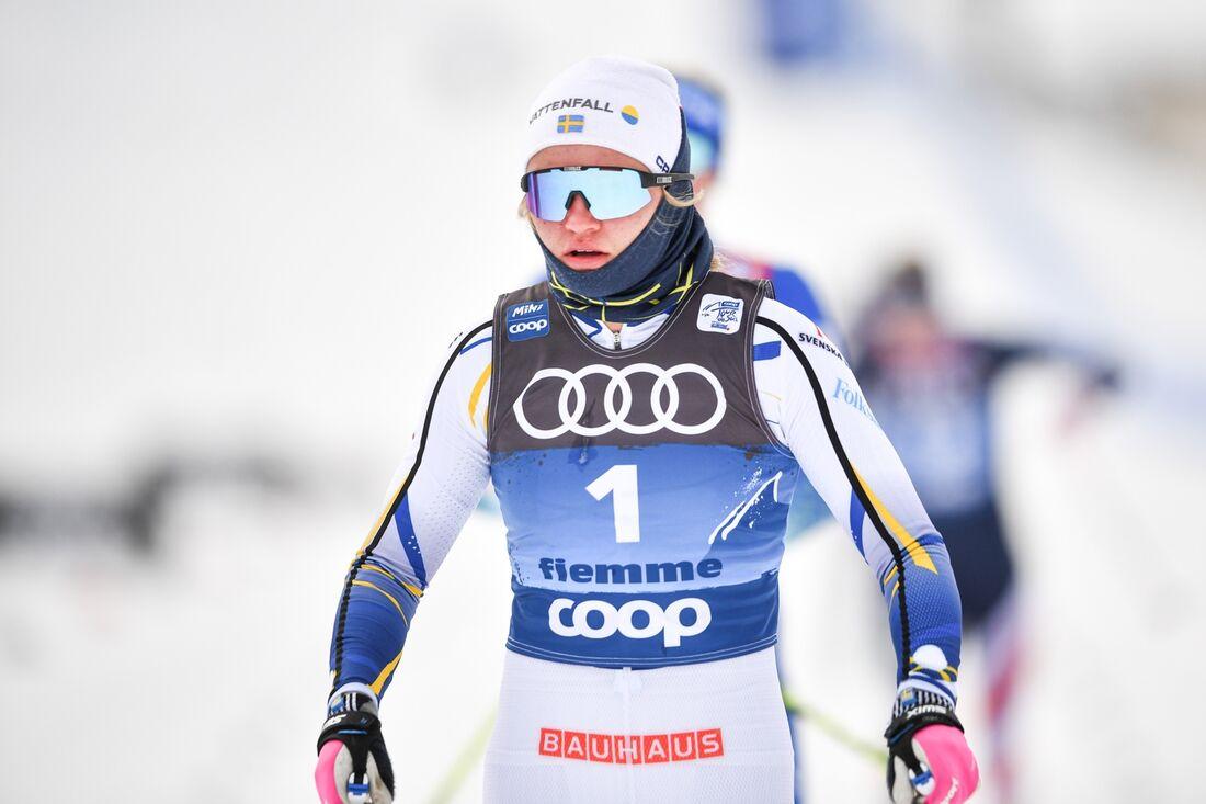 Linn Svahn vann sprinten I Val di Fiemme. FOTO: Maxim Thore/Bildbyrån.