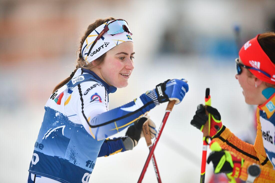 Ebba Andersson har pallen i sikte när Tour de Ski avgörs med Final climb på söndagen. FOTO: Maxim Thore/Bildbyrån.