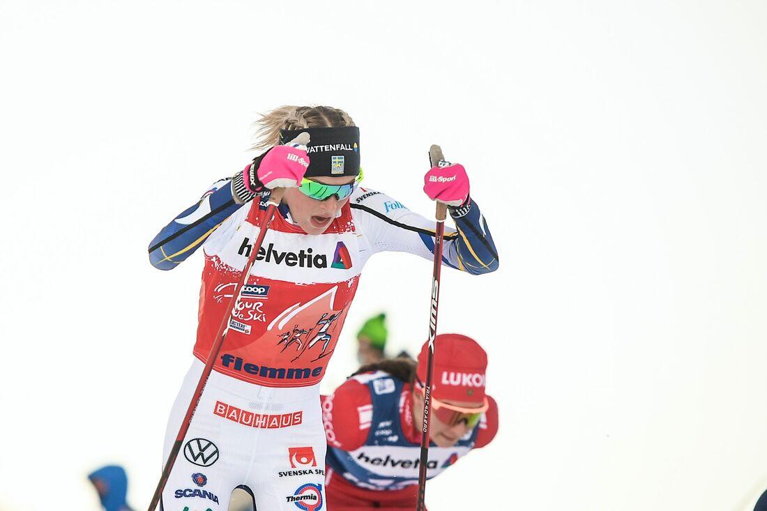 Frida Karlsson står över världscupen i Lahtis för men räknar med start i Falun. FOTO: Maxim Thore/Bildbyrån.