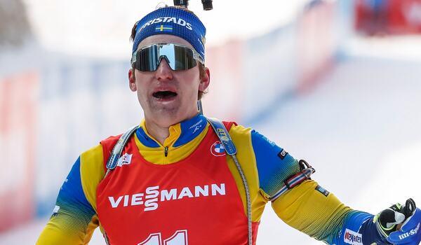 Martin Ponsiluoma åkte fort på sprinten i Oberhof men bommade två skott och blev nia. FOTO: Jasmin Walters, Gepa Pictures/Bildbyrån.