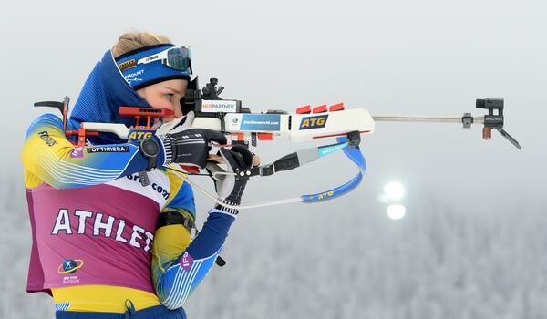 Stina Nilsson blev 99:a i sin premiär i IBU-cupen på torsdagen. FOTO: Deubert/Bildbyrån.