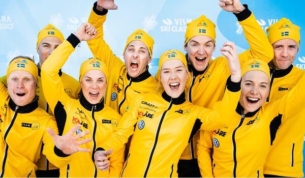 Team Ramudden har åkare som utmanar om alla olika ledarvästar i Visma Ski Classics. FOTO: Visma Ski Classics/Magnus Östh.