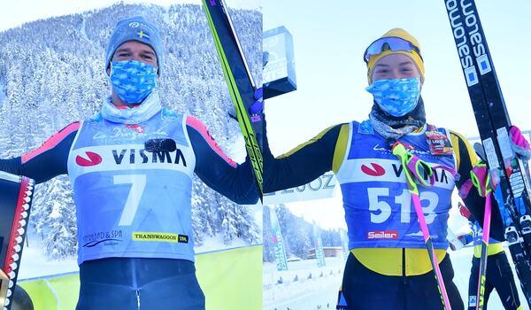 Oskar Kardin och Jenny Larsson tog imponerade segerar på Engadin La Diagonela. FOTO: Nordic focus/Björn Reichert.