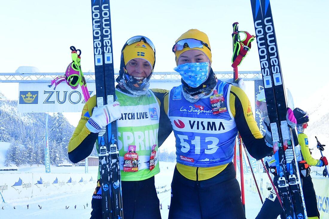 Team Ramuddens Lina Korsgren, tvåa och Jenny Larsson, etta på Engadin La Diagonela. FOTO: Nordic focus/Björn Reichert.