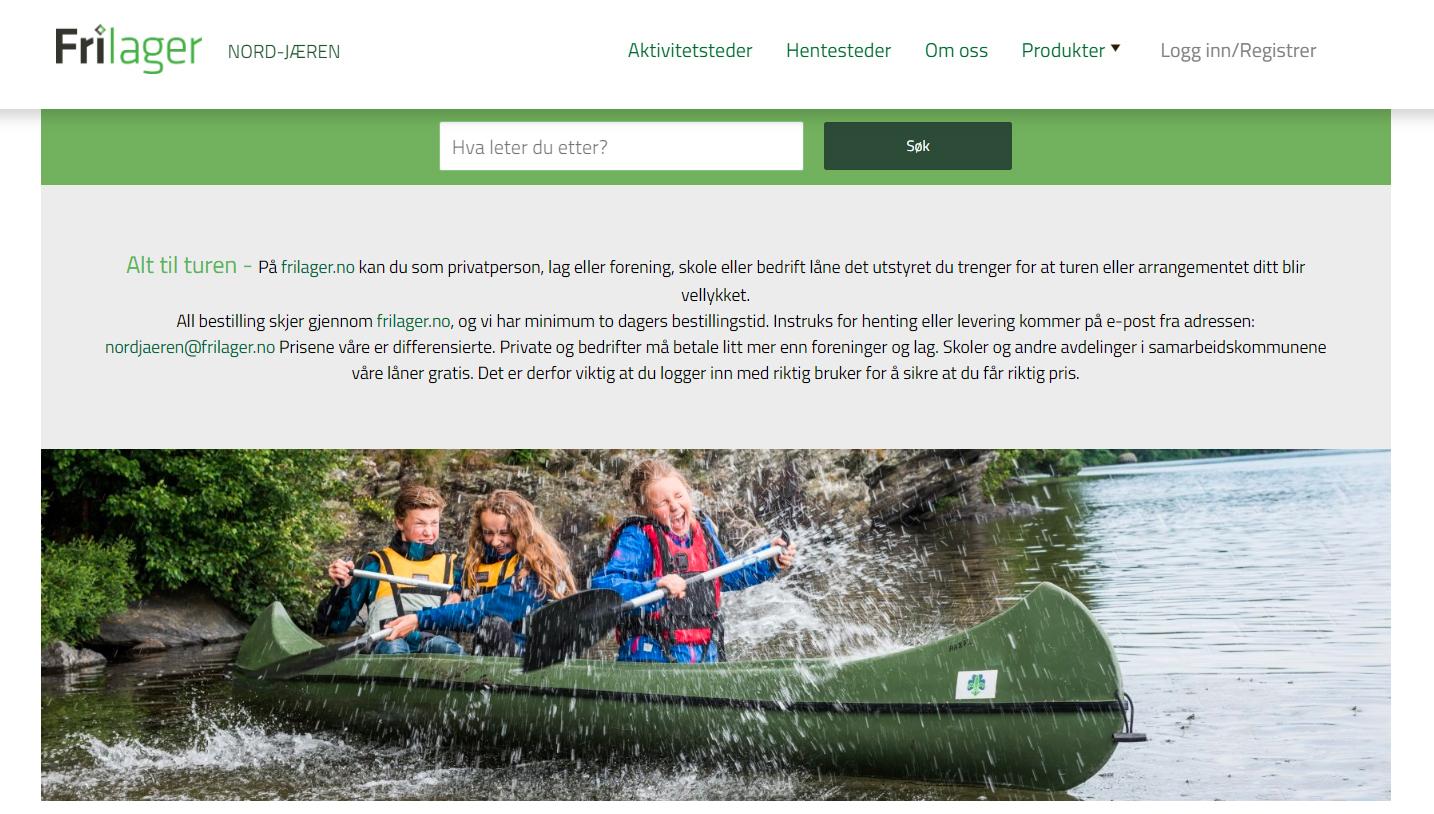 Skjermbilde av nettsiden frilager.no. Bilde av glade barn i en kano. Foto