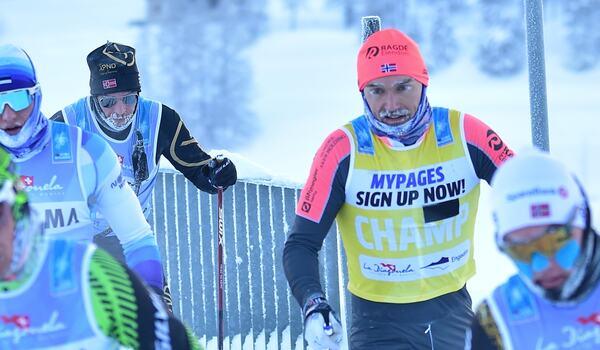 Andreas Nygaard blev tvåa bakom Oskar Kardin på La Diagonela i lördags. Under loppet förfrös han dock fingrarna och norrmannen ligger nu på sjukhus i Italien. FOTO: Björn Reichert/Nordic Focus.