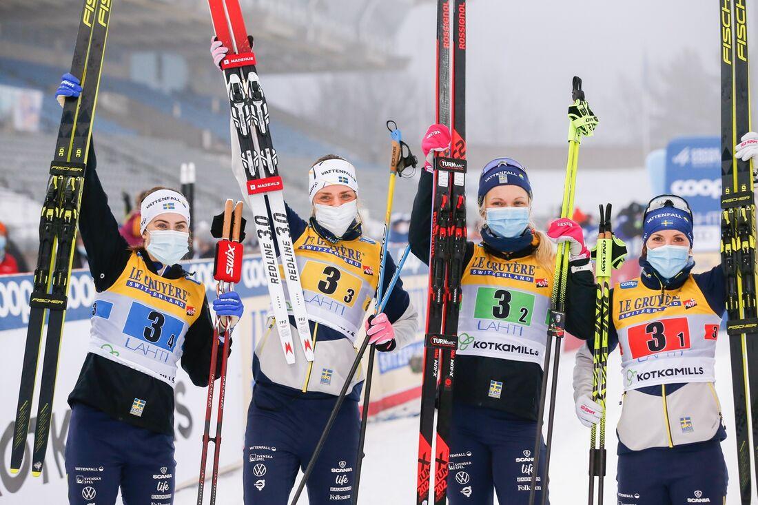 Sverige tog en andraplats bakom Norge på stafetten i Lahtis. FOTO: Kalle Parkkinen/Bildbyrån.