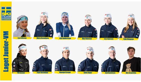 Här har vi åkarna som representerar Sverige på JVM i Finland 8-14 februari. FOTO: Svenska skidförbundet.