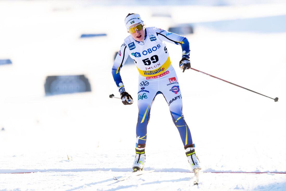 Ebba Andersson korsade mållinjen med tredje tid på dagens fristilslopp i Falun. FOTO: Simon Hastegård/Bildbyrån.