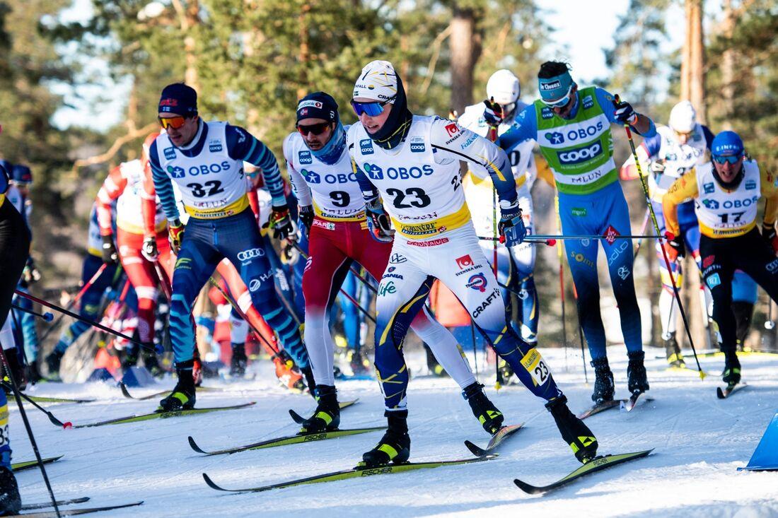 Jens Burman blev bäste svensk som tia på masstarten i Falun på lördagen. FOTO: Simon Hastegård/Bildbyrån.