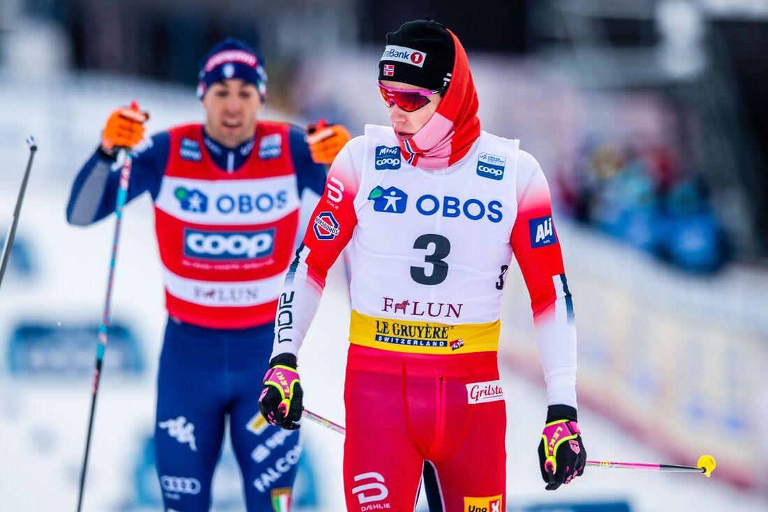 Johannes Hösflot Kläbo, här i semifinalen, vann sprinten i Falun på söndagen. FOTO: Simon Hastegård/Bildbyrån.
