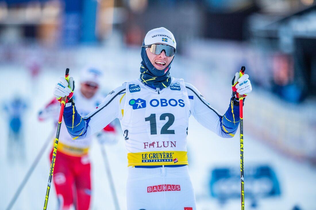 Oskar Svensson in som tvåa bakom Johannes Hösflot Kläbo var på söndagens sprint i Falun. FOTO: Simon Hastegård/Bildbyrån.