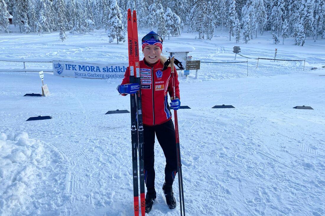 Moa Hansson vann både på lördagen och söndagen när IFK Mora SK arrangerade elittävling i Norra Garberg. FOTO: IFK Mora SK.