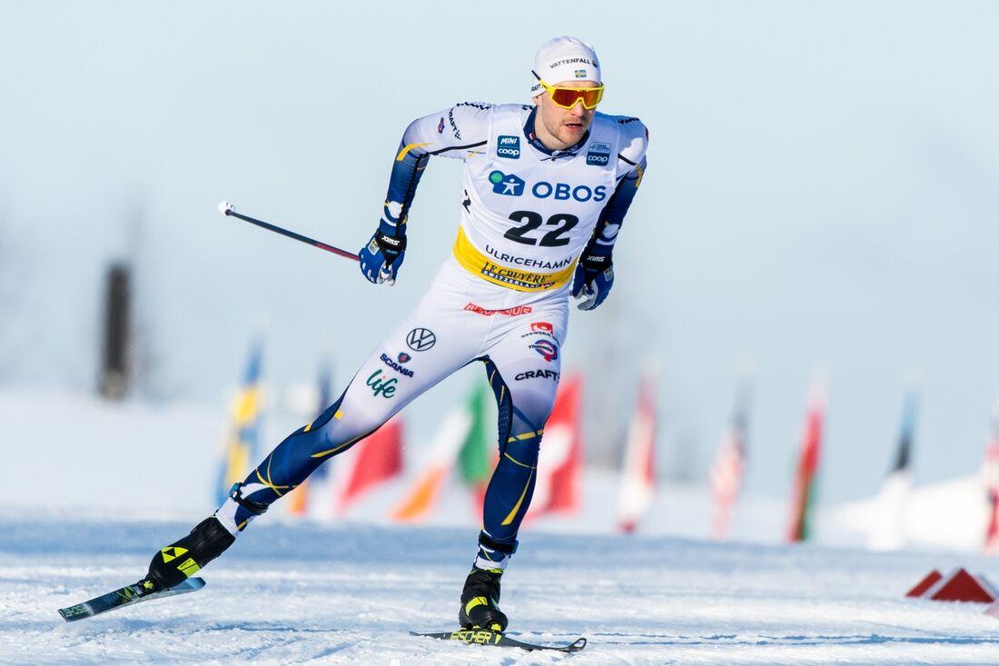 Marcus Grate var bäste svensk som femma i sprintkvalet vid världscupen i Ulricehamn på lördagsförmiddagen. FOTO: Carl Sandin/Bildbyrån.