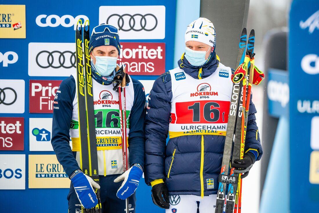 Johan Häggström och Karl-Johan Westberg tog Sverige lag 2 till en tredjeplats på sprintstafetten i Ulricehamn. FOTO: Carl Sandin/Bildbyrån.
