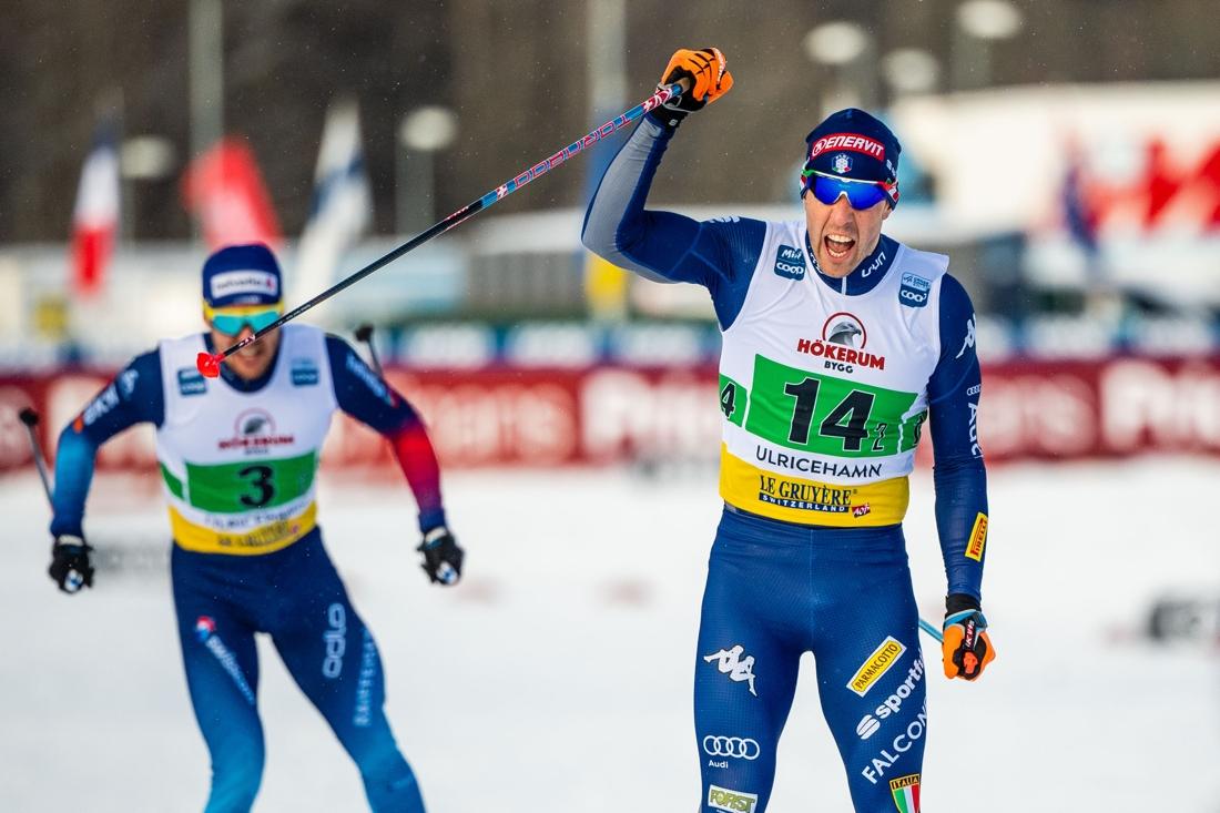 Italiens Federico Pellegrino tog Italien till segern före Schweiz med Roman Furger på slutsträckan. FOTO: Carl Sandin/Bildbyrån.