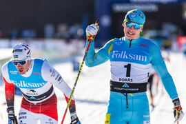 Anton Persson tog SM-guldet i sprint precis före Johan Häggström. FOTO: Mathias Bergeld/Bildbyrån.