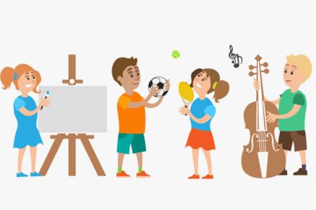 Illustrasjon av barn som driver med ulike aktiviteter