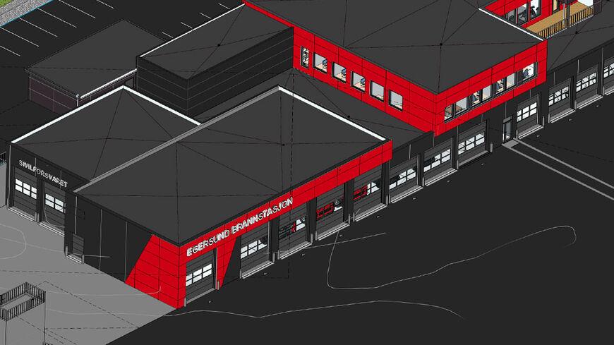 Illustrasjon av ny brannstasjon