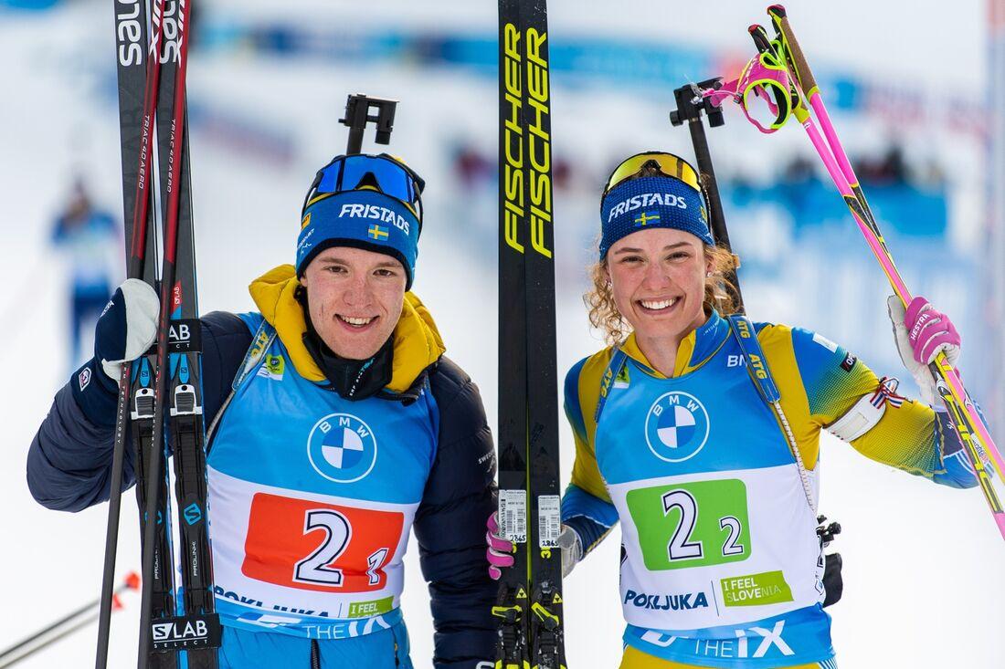 Sebastian Samuelsson och Hanna Öberg tog brons för Sverige på singelmixedstafetten vid VM i Pokljuka på torsdagen. FOTO: Joel Marklund/Bildbyrån.