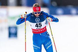 Anna Dyvik vann sprinten vid Volkswagen cup i Boden på fredagen i snöiga förhållanden. Bilden från ett soligt Borås under SM. FOTO: Mathias Bergeld/Bildbyrån.